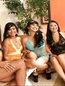 Lesbo Tv Xxx: Incredible Five Girl Asian Lesbian Orgy