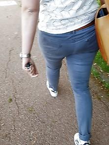 Nice Bbw Ass In Grey-Blue Jeans 3