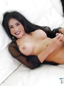 Big Boobs Tgirl Masturbates Her Hard Dick On The Couch