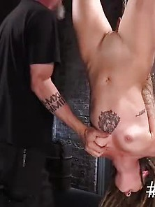 In Upside Down Bondage Sub Caned
